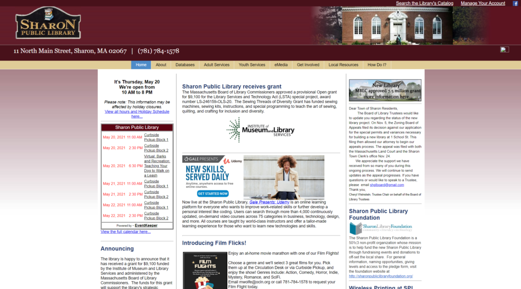 Thumbnail image of the Sharon MA library website.