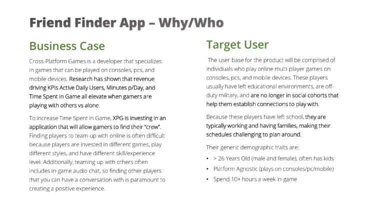 Business Case / Target User