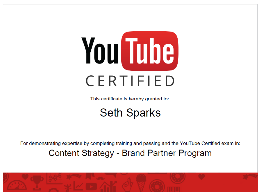 Certificate for Content Strategy from YouTube